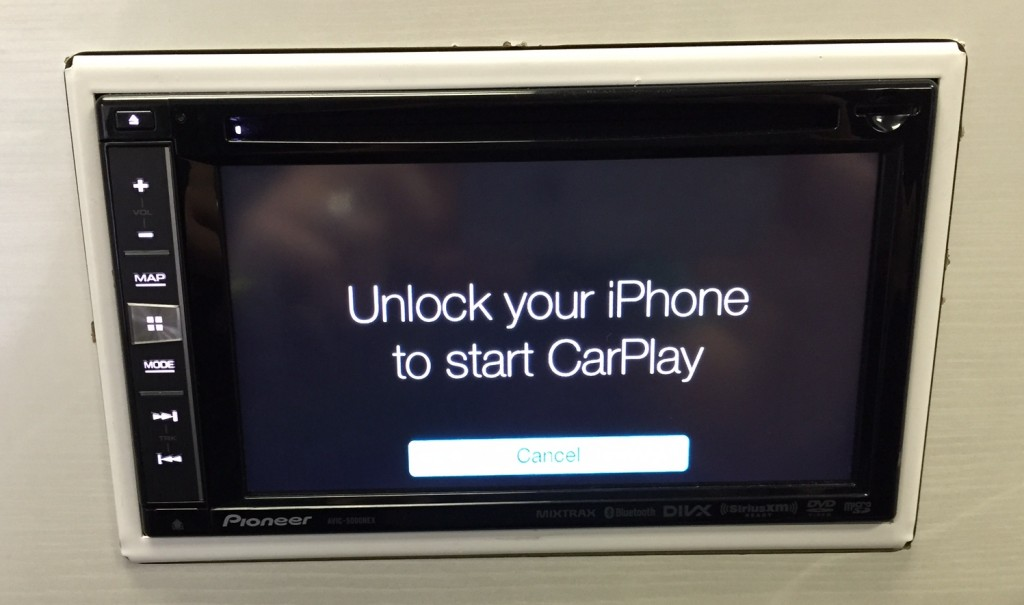 Pioneer AVIC-5000NEX after CarPlay Update installed and iPhone 6 connected.