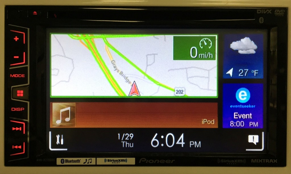 Pioneer Double Din AVH-X2700BS displays Apple Maps.