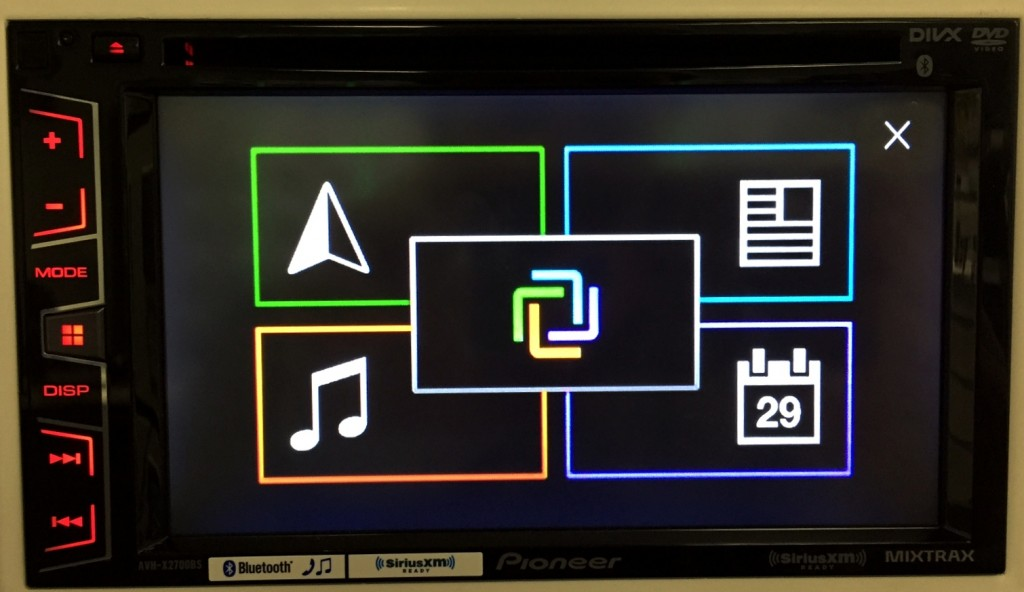 Pioneer Double Din AVH-X2700BS displays App Radio Live interface.