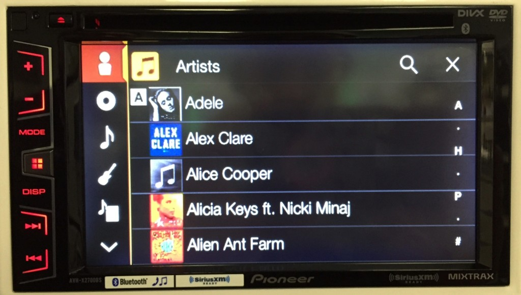 Pioneer Double Din AVH-X2700BS displays Artist list with album art.