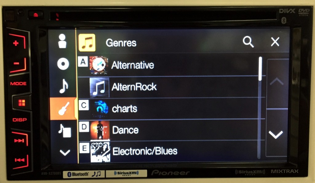Pioneer Double Din AVH-X2700BS genre search in App Radio One mode.