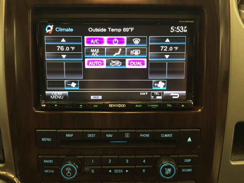 DDX9902S with Ford F-150 climate controls integrated using iDatalink Maestro