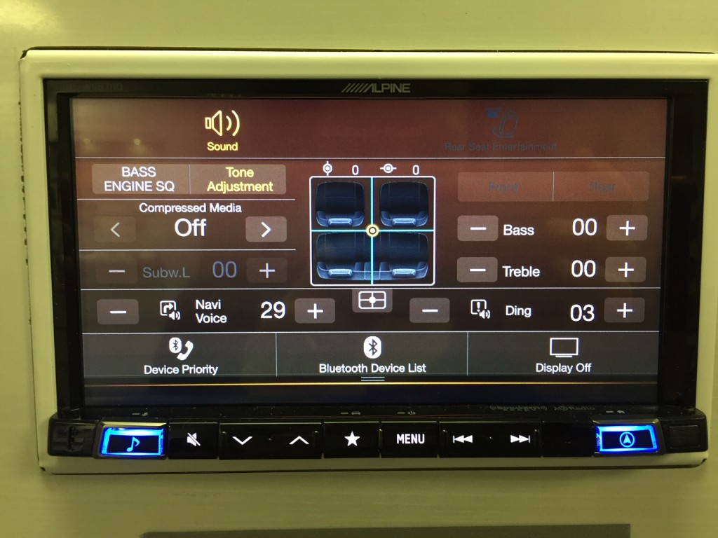 Best Double Din Navigation 2016 - Alpine INE-W967HD easy bass and treble adjustment.
