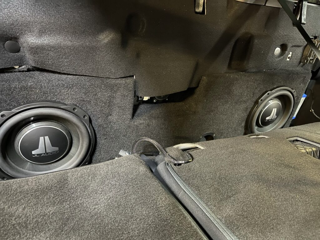 """2021 F-150 stereo upgrade - MTI double 10"""" enclosure behind the rear seats"""